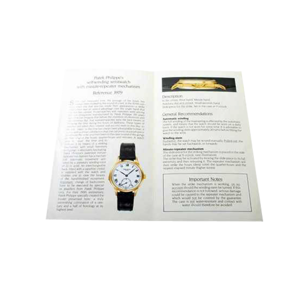 Lot #3029 Rare Patek Philippe Minute Repeater 3939 Owners Manual