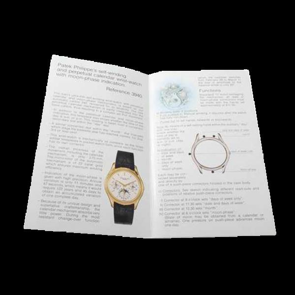 Lot #3096 Patek Philippe Perpetual Calendar 3940 Owners Manual