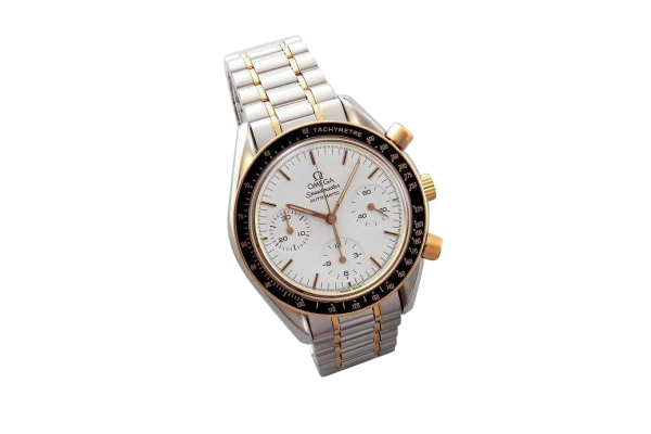 Lot #3164 Yellow Gold and Steel Omega Speedmaster Chronograph