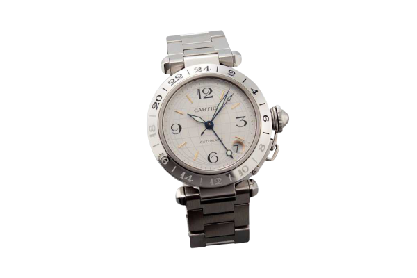 Stainless Steel Cartier Pasha GMT Two Time Zone Watch