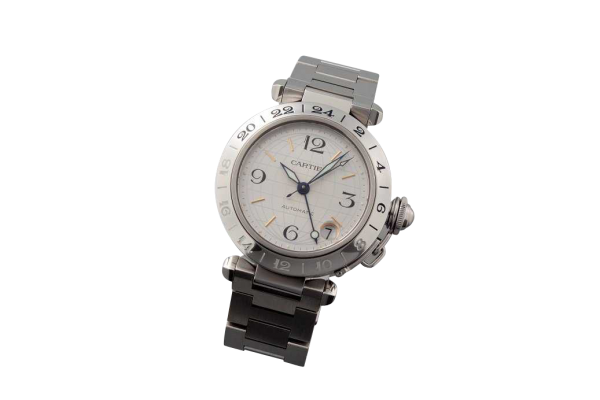 Lot #3182 Stainless Steel Cartier Pasha GMT Two Time Zone Watch