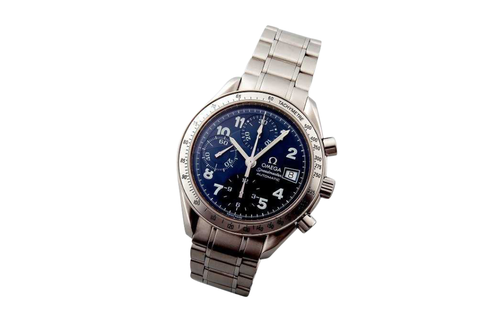 Lot #3194B Special Edition Blue Arabic Omega Speedmaster Date Auction Blue