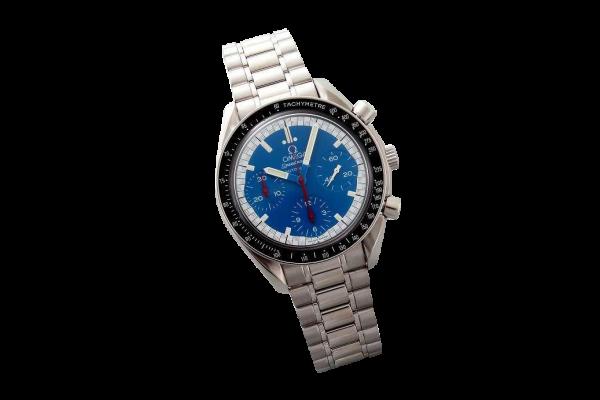 Lot #3199 Stainless Steel Omega Speedmaster Blue Schumacher Watch