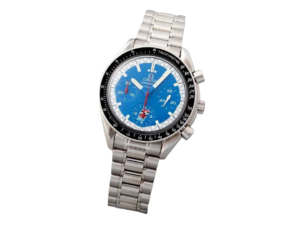 Stainless Steel Omega Speedmaster Blue Cart Logo Watch