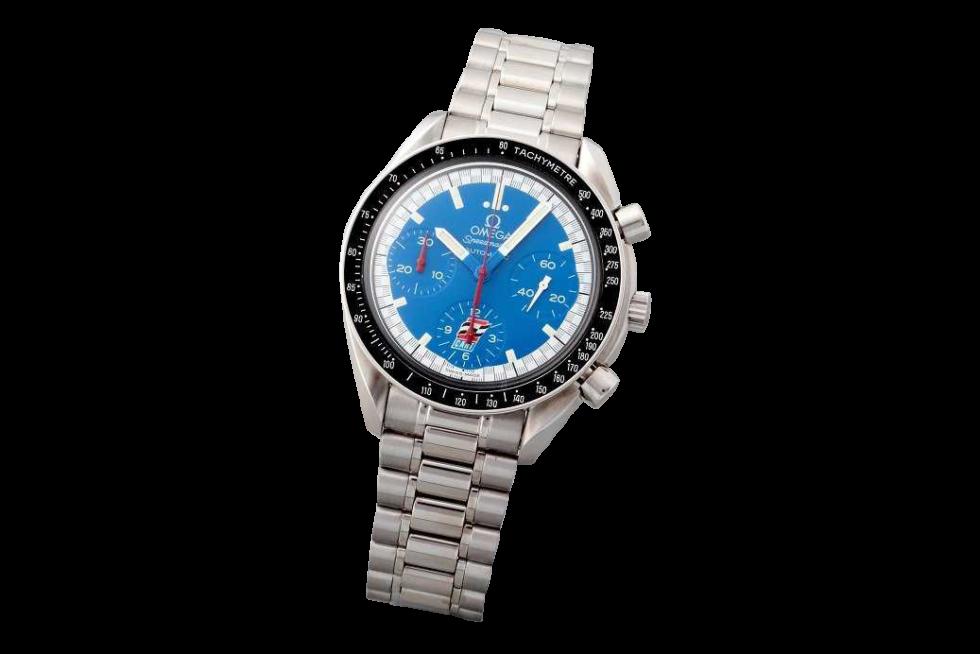 Lot #3206 Stainless Steel Omega Speedmaster Blue Cart Logo Watch Auction Omega