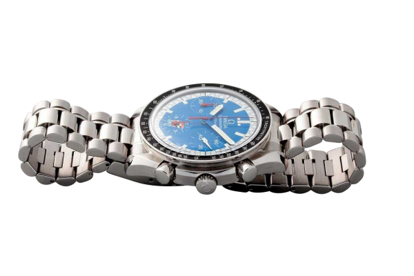 Lot #3206 Stainless Steel Omega Speedmaster Blue Cart Logo Watch