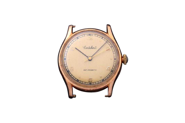 3222_1 Vintage Gents 18K Yellow Gold Cortebert Wristwatch