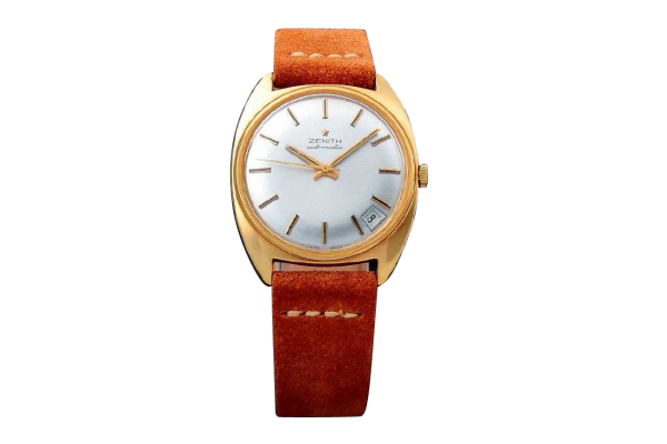 3223_1 Vintage Gents 18k Yellow Gold Zenith Date Watch.