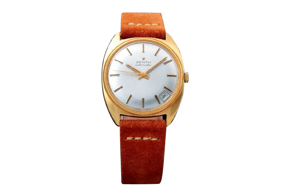 Lot #3223 – Vintage Gents 18k Yellow Gold Zenith Date Watch Auction Auction