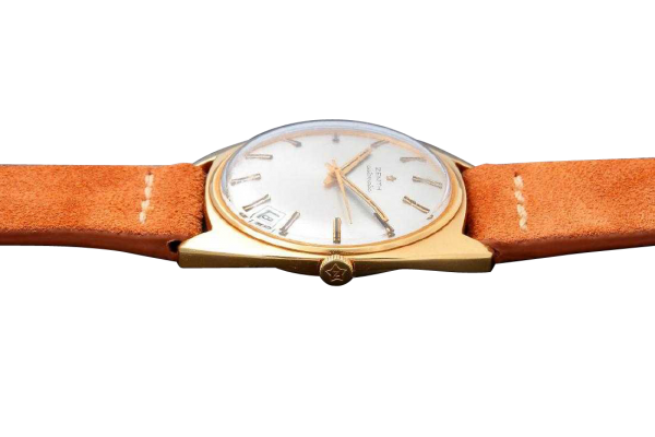 Lot #3223 – Vintage Gents 18k Yellow Gold Zenith Date Watch