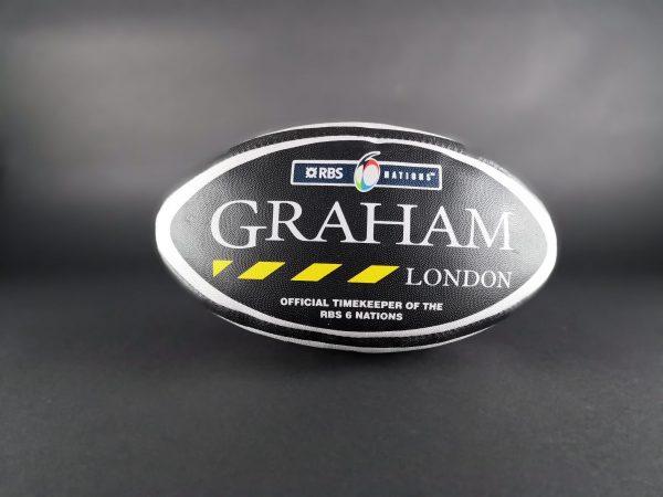 Graham London Timekeeper RBS Rugby Ball - Baer Bosch Auctioneers