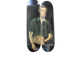 Lot #7237 – Albert Oehlen Selbstportrat Mit Palette Skateboard Skate Deck Diptych Set Skateboard Decks Albert Oehlen