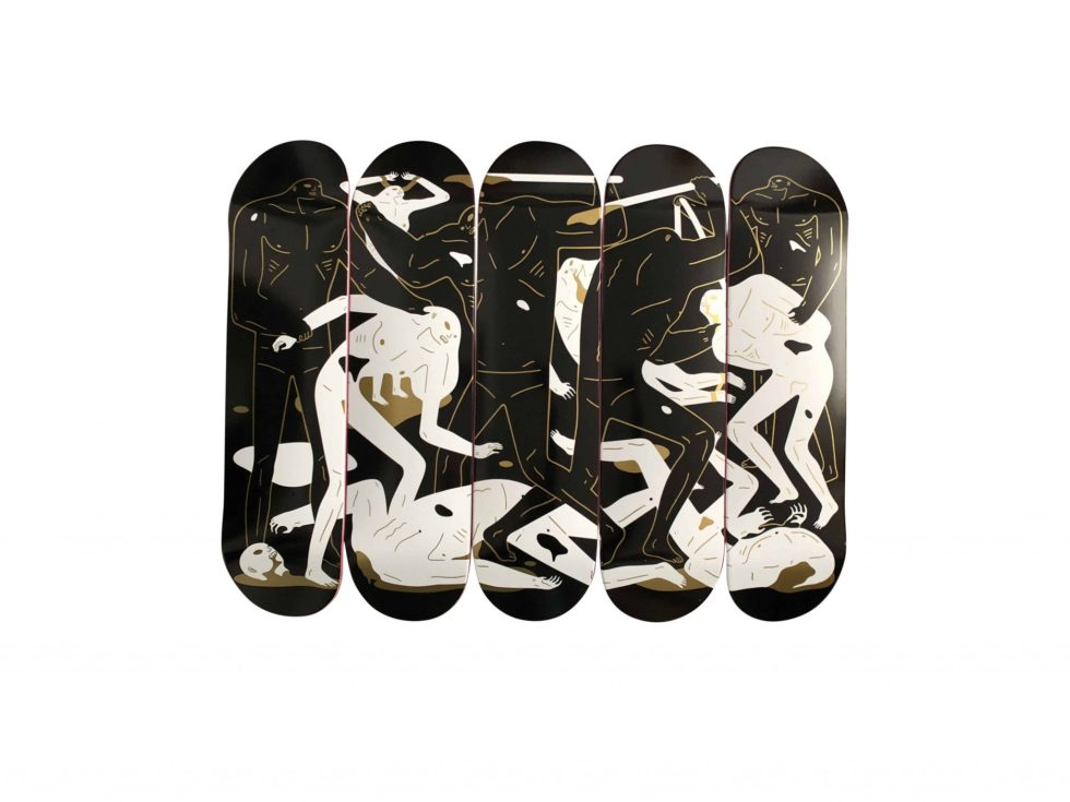 Lot #9712 –  Cleon Peterson Between Man and God Skateboard Skate 5 Deck Set Skateboard Decks Cleon Peterson Between Man and God