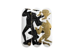 Lot #5725 –  Cleon Peterson The Crawler Skateboard Skate Deck Triptych Set Skateboard Decks Cleon Peterson Skateboard