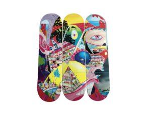Lot #7327 – Erik Parker Rome Pays Off Signed Skate Deck Triptych Set Erik Parker [tag]
