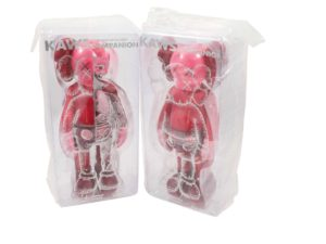Lot #9033 – KAWS Blush Flayed and Companion Vinyl Figures Set of 2 Art Toys KAWS