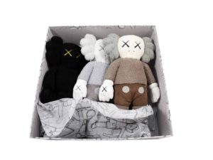Lot #9330 –   KAWS Plush Holiday Hong Kong Set Brown Black Grey Art Toys KAWS Holiday