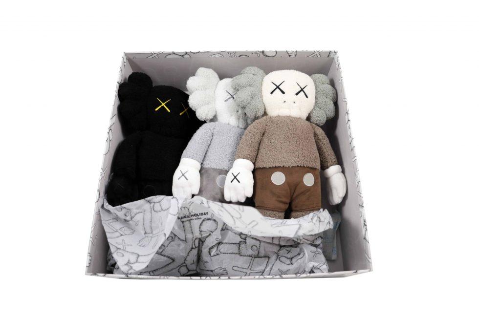 Lot #7180 –   KAWS Plush Holiday Hong Kong Set Brown Black Grey Art Toys KAWS Holiday