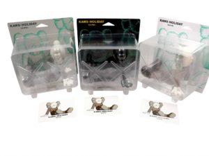 Lot #9890 – KAWS Holiday Taipei Vinyl 3 Figure Set Brown, Grey, Black Sealed Art Toys KAWS