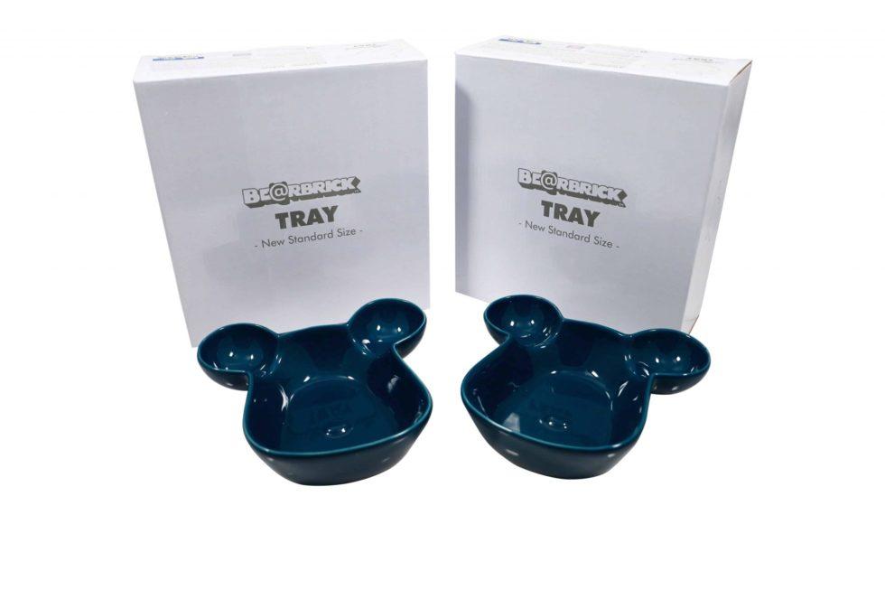 Lot #5217 – Medicom Bearbrick Tray Plate Bowl Set of 2 Blue [category] Medicom