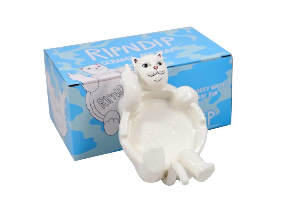 Lot #7069 – Rip N Dip Lazy Nerm Cat Ceramic Ashtray White Various Rip N Dip
