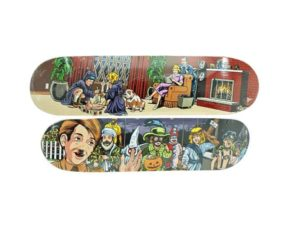 Lot #7252 – Sean Cliver x Supreme Skateboard Ritual & Halloween Skate Deck Set Skateboard Decks Sean Cliver