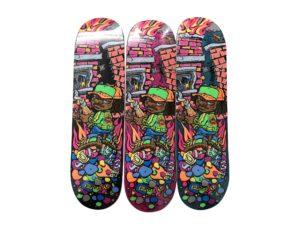 Lot #7243 – Supreme Molotov Kid Skateboard 3 Skate Deck Set Skateboard Decks Supreme Molotov Kid Skateboard