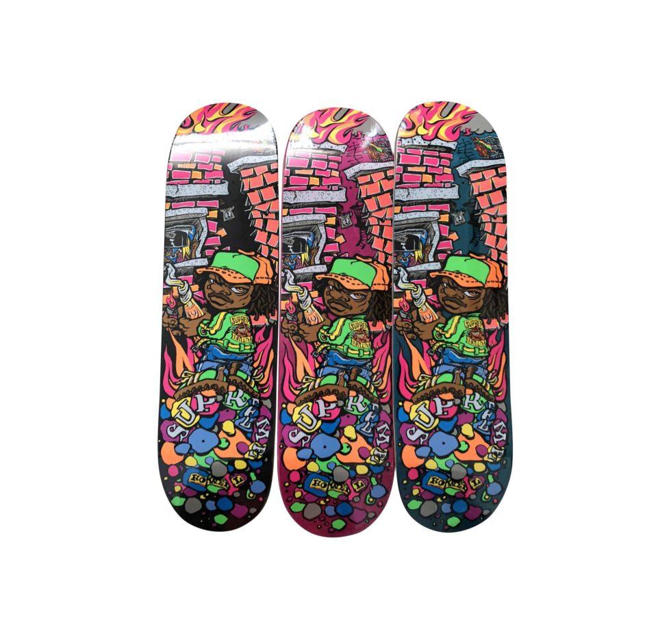 Lot #9800 – Supreme Molotov Kid Skateboard 3 Skate Deck Set Skateboard Decks Supreme Molotov Kid Skateboard