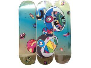 Lot #5749 – Takashi Murakami x ComplexCon Discord Skateboard Skate Deck Triptych Set Skateboard Decks Takashi Murakami