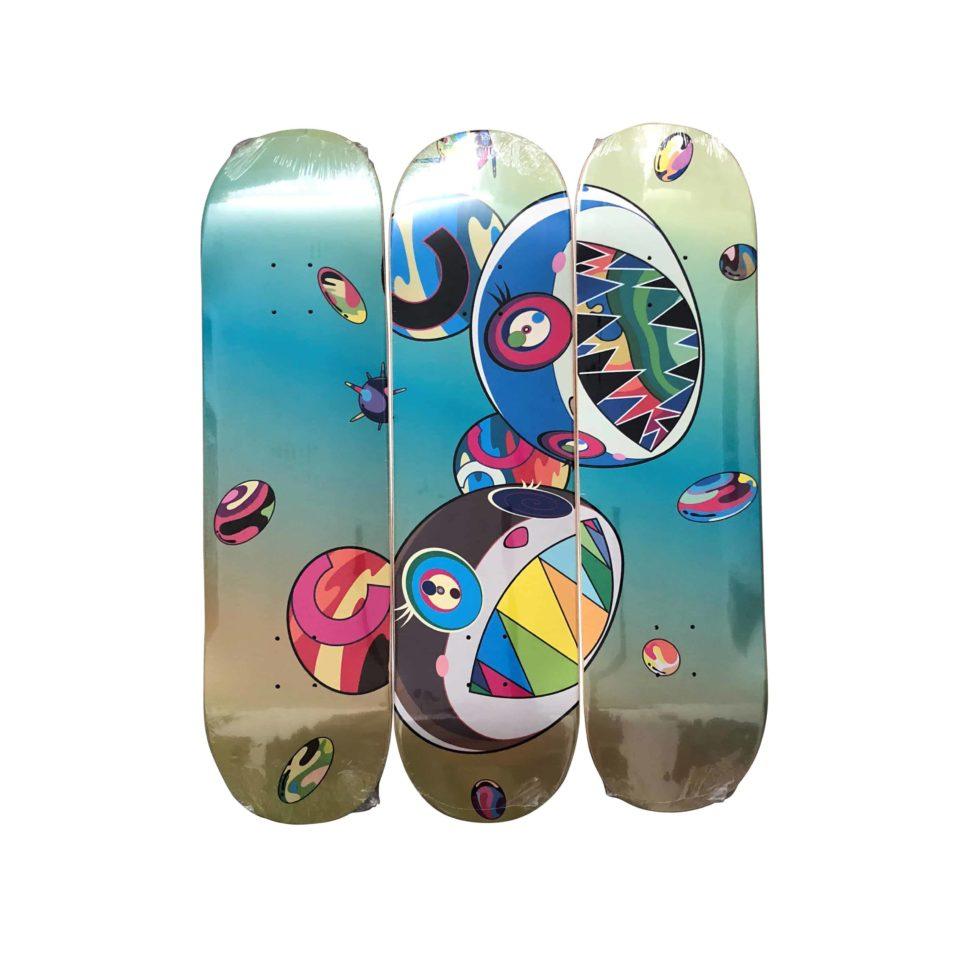 Lot #8558 – Takashi Murakami x ComplexCon Discord Skateboard Skate Deck Triptych Set Skateboard Decks Takashi Murakami