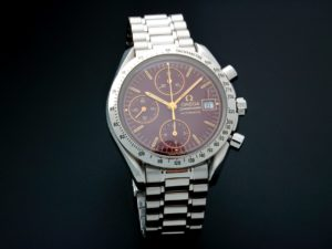 Lot #6750 – Rare Unusual Omega Speedmaster Date Watch Oxblood Dial 3511.61 Omega Chronograph