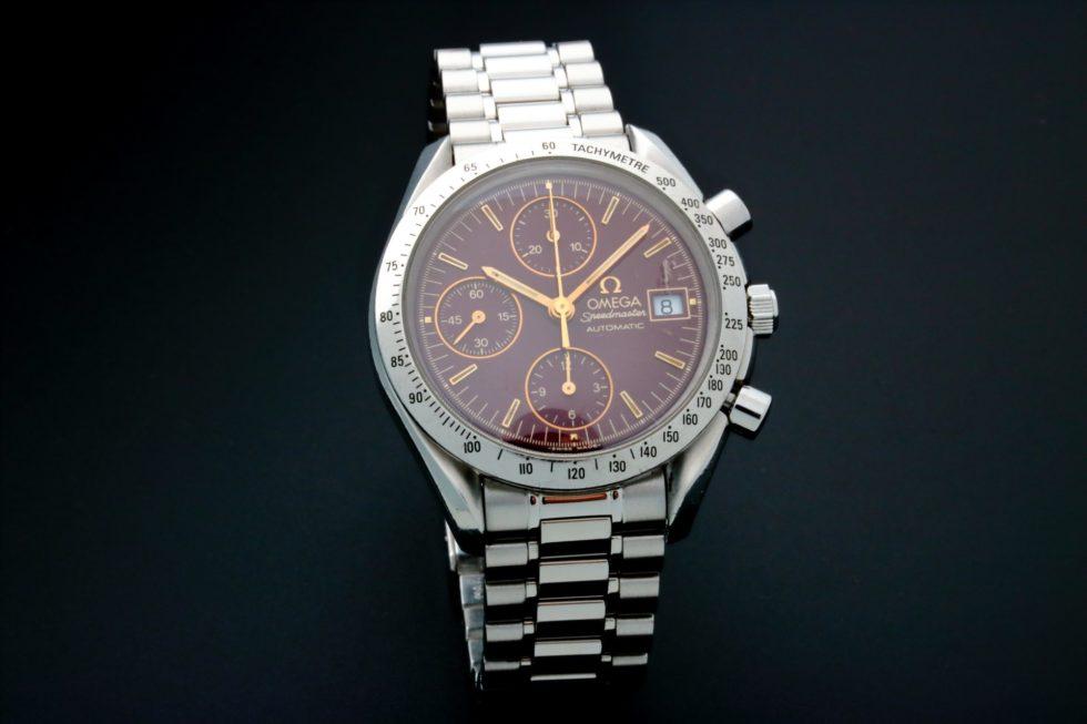Lot #6750 – Rare Unusual Omega Speedmaster Date Watch Oxblood Dial 3511.61 Omega Chronograph