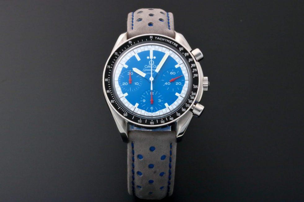 Lot #5663 – Omega Speedmaster Reduced Schumacher Blue Watch 3510.81 Omega Omega 3510.81.00