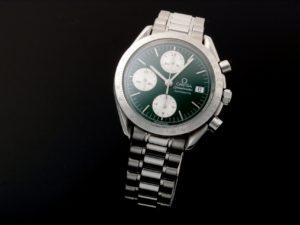 Lot #10962 – Omega 3511.70 Speedmaster Date Green Jade Watch Rare 3511.70 Chronograph