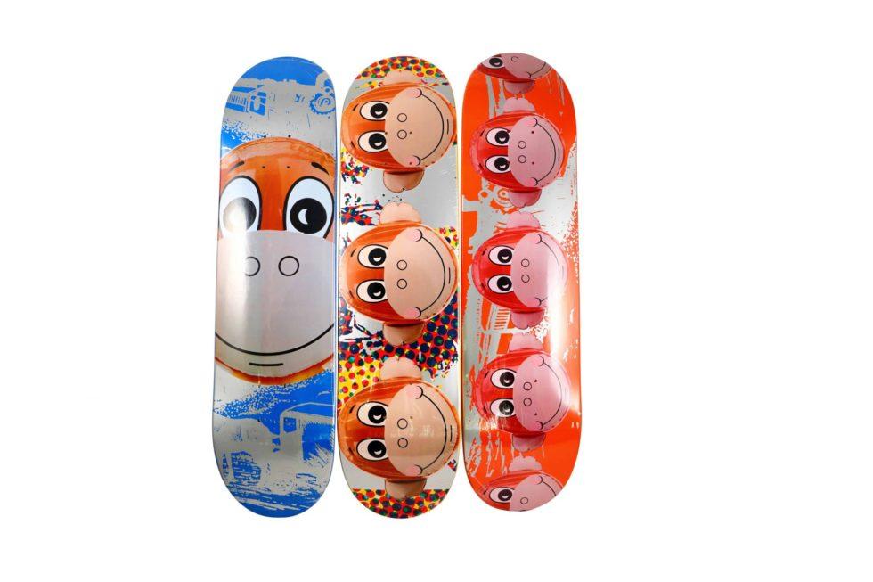 Lot #4244 – Jeff Koons x Supreme Monkey Train Skateboard Deck Set Skateboard Decks Jeff Koons
