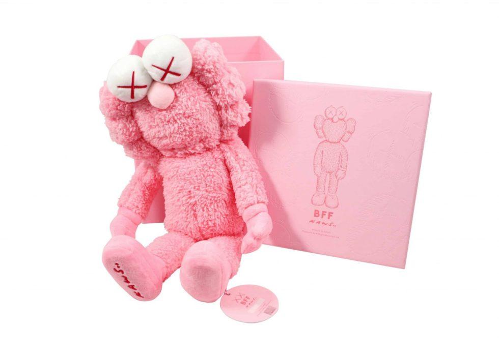 Lot #5221 – KAWS BFF Plush Pink with Original Box and Hologram Hang Tag Art Toys KAWS