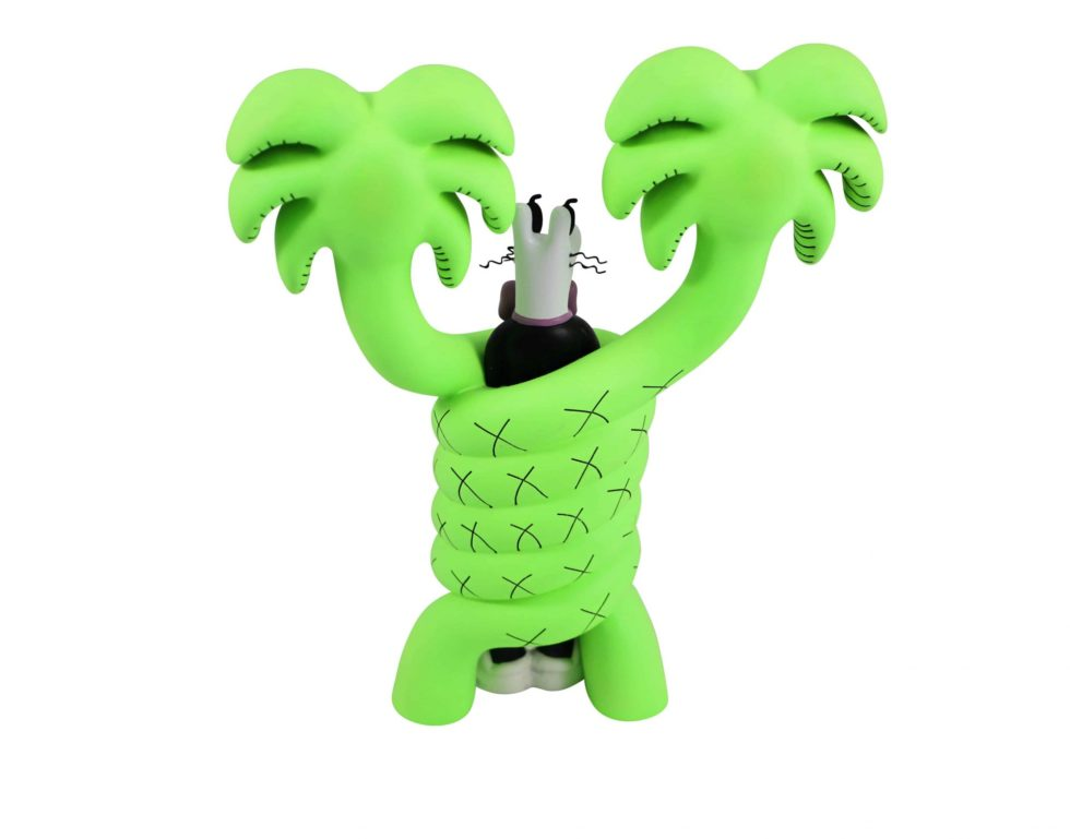 Lot #8783 – Steven Harrington Mello Gotcha Neon Green Sculpture Limited Edition Art Toys Gotcha