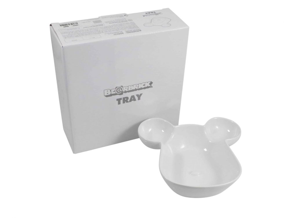 Lot #7113 – Bearbrick Tray Plate Bowl White Medicom Rarities Bearbrick
