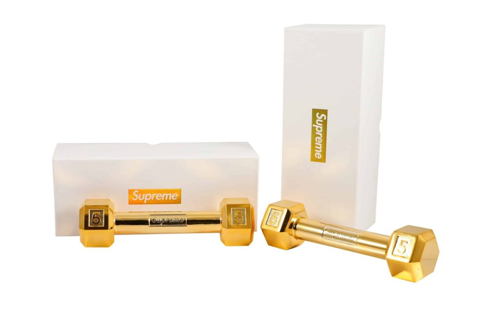 Lot #5193 – Supreme Dumbbell Set of 2 Gold Plated Rarities Supreme