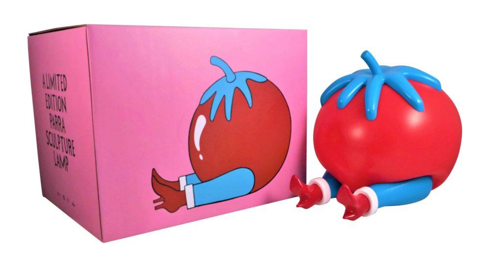 Lot #7353 – Piet Parra Give Up Tomato Sculpture Lamp x Case Studyo Art Toys Piet Parra