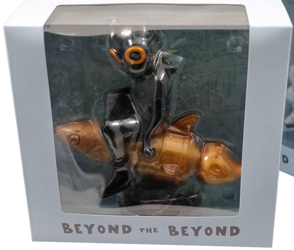 Lot #7585 – Hebru Brantley Flyboy Rocket Boy Black and Gold Vinyl Figure Art Toys Hebru Brantley