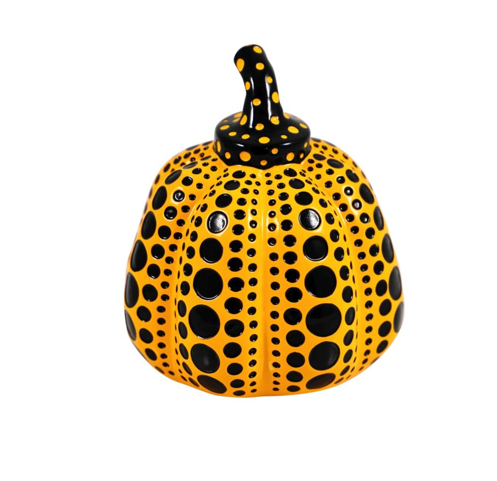 Lot #5196 – Yayoi Kusama Pumpkin Sculpture Yellow Black Art Yayoi Kusama