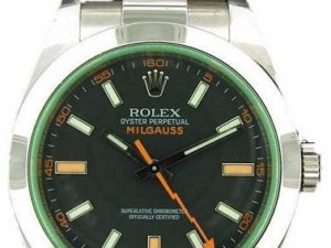 Lot #4828 – Rolex Milgauss Watch Green Crystal #116400V Milgauss Rolex #116400V