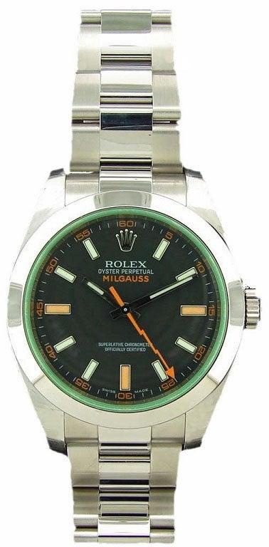 Lot #4828 – Rolex Milgauss Watch Green Crystal #116400V Milgauss Rolex #116400V