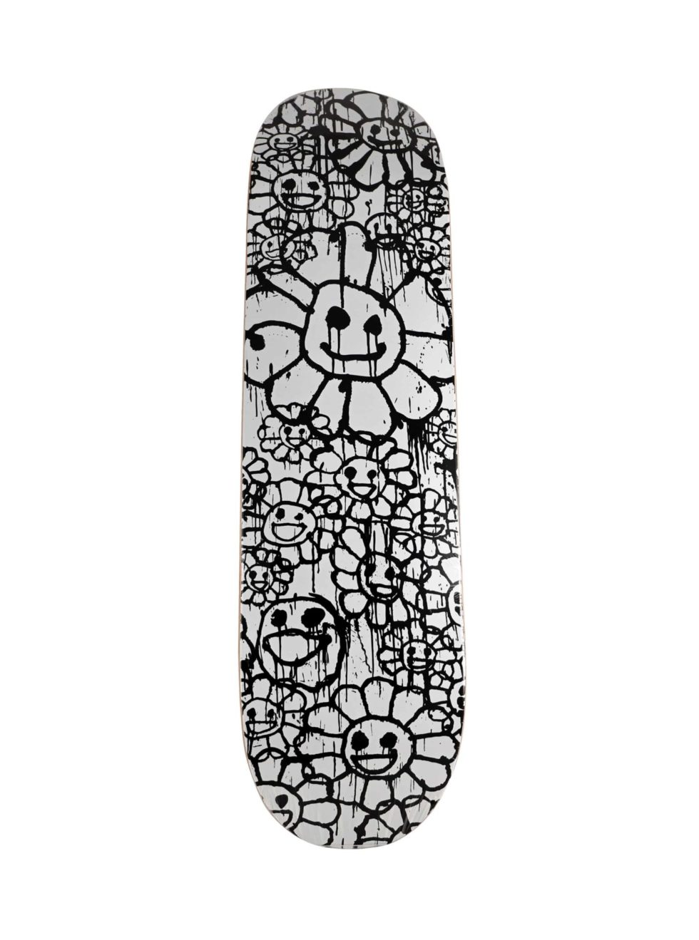 Lot #8758 – Murakami x Madsaki Flower White Black Skateboard Deck Madsaki Kaikai Kiki Deck