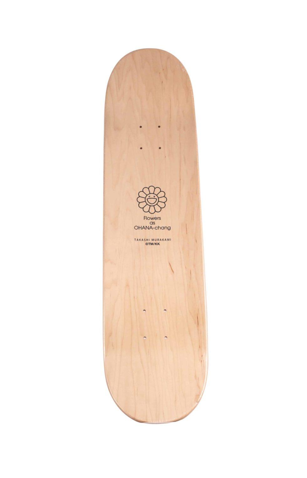 Lot #8814 – Takashi Murakami Red Flowers as Ohana-Chang Skateboard Deck Skateboard Decks Murakami Flowers as Ohana-Chang