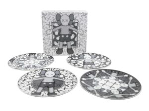 Lot #7071 – KAWS Holiday Ceramic Plates Grey Set of 4 Rarities KAWS Holiday Plates