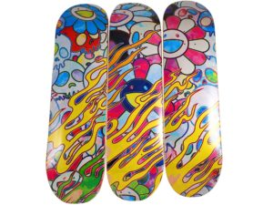 Lot #8612 – Takashi Murakami Flaming Skull Rainbow Skateboard Deck Set Skateboard Decks [tag]