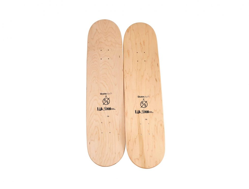 Lot #8761 – Nick Smith Intimations Diptych Skateboard Deck Set Nick Smith Nick Smith