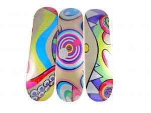 Lot #7636 – Takashi Murakami Triptych DOB Skateboard Decks Skateboard Decks Takashi Murakami